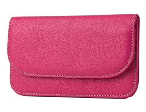 Mundi Womens Slim Flap Envelope Clutch RFID Blocking Wallet With Safe Keeper Technology (Hot Pink) by Mundi