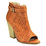 Nature Breeze Webber-11 Women's Leatherette Block Chunky Heel Open Toe Caged Ankle Booties Sandals