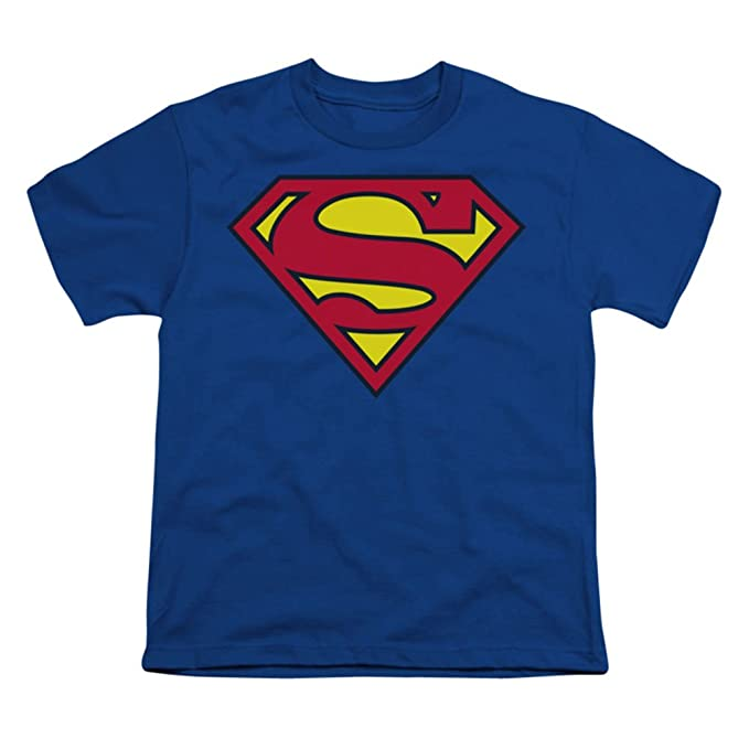 abac5d81a Amazon.com: Superman Classic Logo Youth Boys Blue T-shirt: Clothing