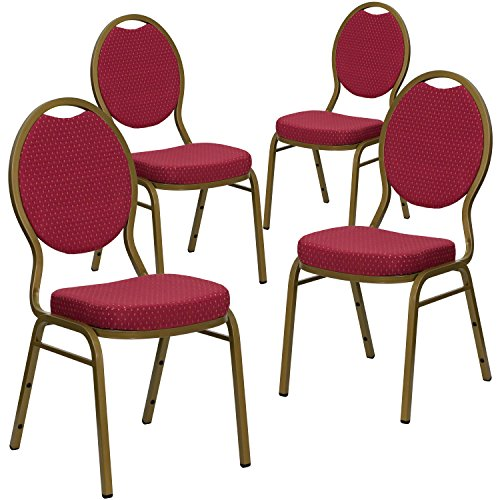 4 Pk. HERCULES Series Teardrop Back Stacking Banquet Chair with Burgundy Patterned Fabric and 2.5'' Thick Seat - Gold Frame (Series Stacking Chair Burgundy Fabric)