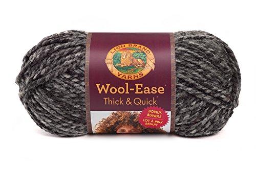 (Lion Brand Yarn 641-528 Wool-Ease Thick & Quick Bonus Bundle Yarn, Licorice)