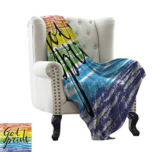 BelleAckerman Blanket Storage Pride,Got Pride Sketchy Hand Written Phrase Grunge Crayon Paint Style International Event,Multicolor Microfiber All Season Blanket for Bed or Couch Multicolor 35