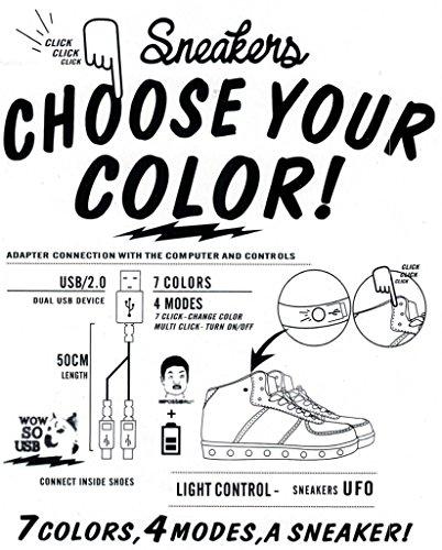Le Donne Di Alta / Bassa Cima Cuoio Dellunità Di Elaborazione Hanno Condotto Le Scarpe Sneaker Ricaricabili Usb Lampeggianti Di Modo Leggero Bianco_4001