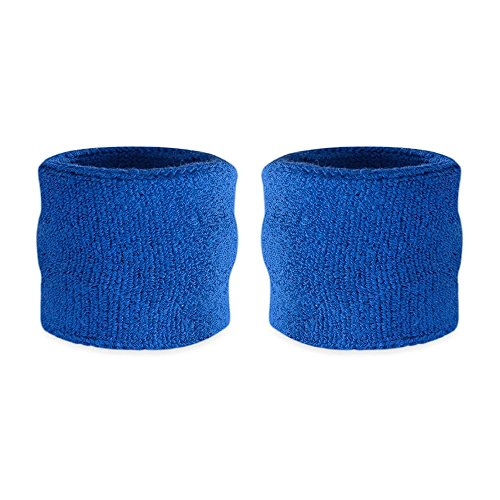 Suddora Kids Wrist Sweatband Also Available in Neon Colors - Athletic Cotton Terry Cloth Wristband for Sports (Pair) (Blue)