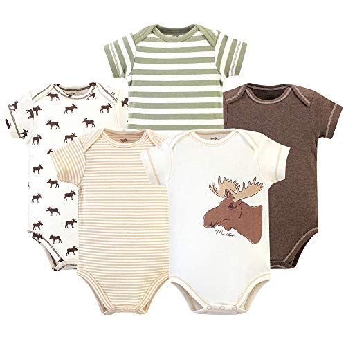 (Touched by Nature Unisex Baby Boys Organic Cotton Bodysuits, Moose Short Sleeve 5 Pack, 3-6 Months)
