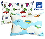 100% Cotton Cartoon Toddler Travel Pillowcase - Cuddle Collection for Boys Or Girl,for 13x18,12x16 Pillow,Double-Sided Different - Cars and Airplanes,Free Travel Package (2 Cars/Airplanes)