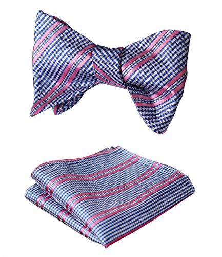 (HISDERN Men's Check Plaid Bowtie Formal Tuxedo Self-Tie Bow Tie and Pocket Square Set)