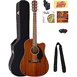 Fender CD-60SCE Dreadnought Acoustic-Electric Guitar – All Mahogany Bundle with Hard Case, Tuner, Strap, Strings, Picks…