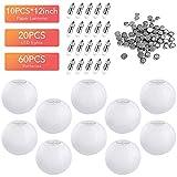 Vastar 12 Inch White Paper Lanterns, 20 Packs White LED Party Lights for 10 Packs White Round Paper Lanterns and Extra 60 LED Light Batteries