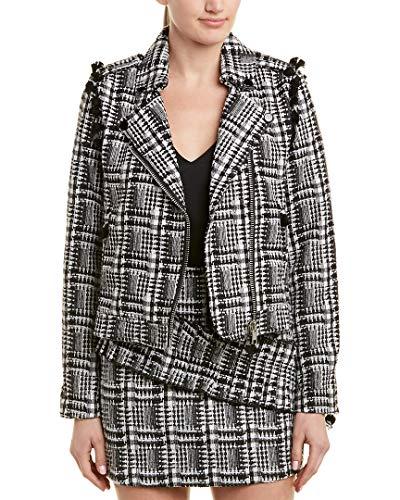 Moon River Women's Cropped Tweed Moto Jacket with Tassels, Black Plaid, ()
