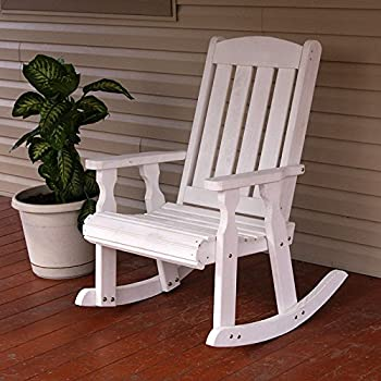 Amish Heavy Duty 600 Lb Mission Pressure Treated Rocking Chair (Semi Solid  White Stain)