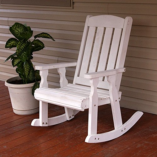 Amish Heavy Duty 600 Lb Mission Pressure Treated Rocking Chair (Semi-Solid White Stain) by Cafe