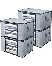 BoxLegend Clothes Storage Bags Large Capacity Organizer with Reinforced Handle Thick Fabric Large Clear Window (4pack)
