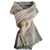 LONGWEIZ Women's Plaid Blanket Winter Scarf Warm Cozy Tarta Wrap (Brown and Beige)