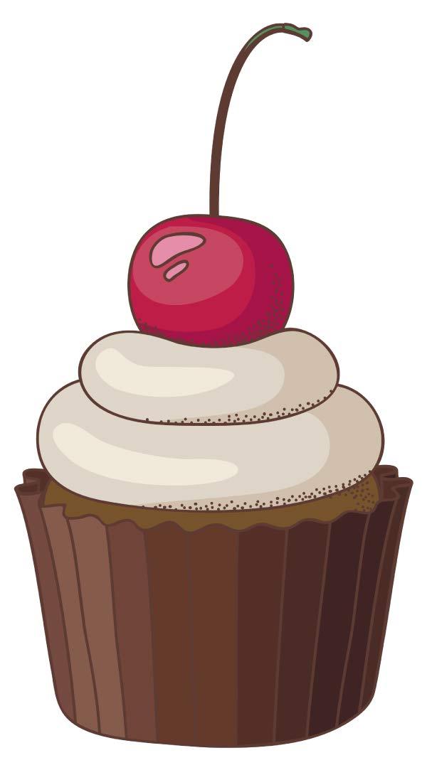 Wandtattoo Küche Retro Cupcake mit Kirsche Wandsticker Desserts Esszimmer