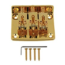 Yibuy Gold Plated Electric Guitar 3 String Cigar Box Guitar Bridge Tailpiece with Screws & Wrench