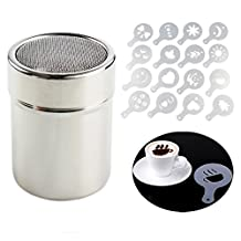CHUANGLI Chocolate Shaker Duster Coffee Flour Sifter Stainless Steel Dispensers Cappuccino Stencils