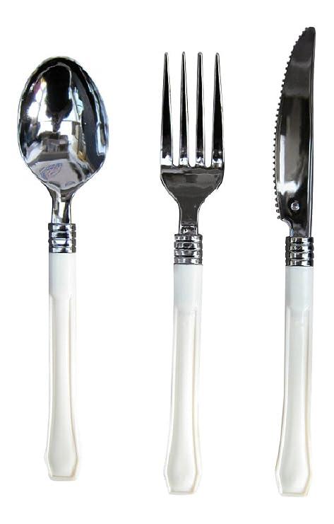 12 x cada plateado y cuchillos de colores crema de plástico desechables, con tenedores y