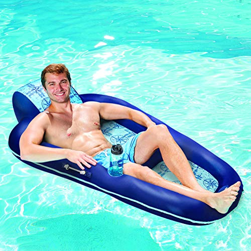 Aqua Campania Ultimate 2 in 1 Recliner & Tanner Pool Lounger with Adjustable Backrest and Caddy, Inflatable Pool Float, Navy Hibiscus (B07G98QSS4)