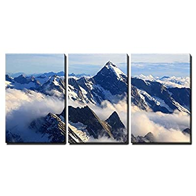 3 Piece Canvas Wall Art - Landscape of Mountain Cook Peak with Mist from Helicopter, New Zealand - Modern Home Art Stretched and Framed Ready to Hang - 16