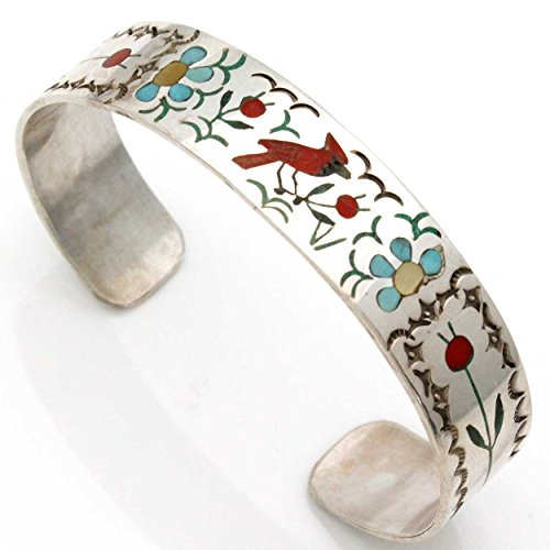 - L7 Enterprises Intricately Inlayed Zuni Bracelet Featuring A Cardinal by Zuni Artist Guardian