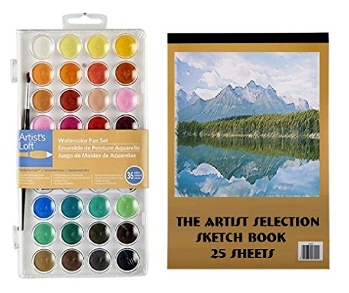 Watercolor Paint 36 Colors And Sketch 25 Page Book Set