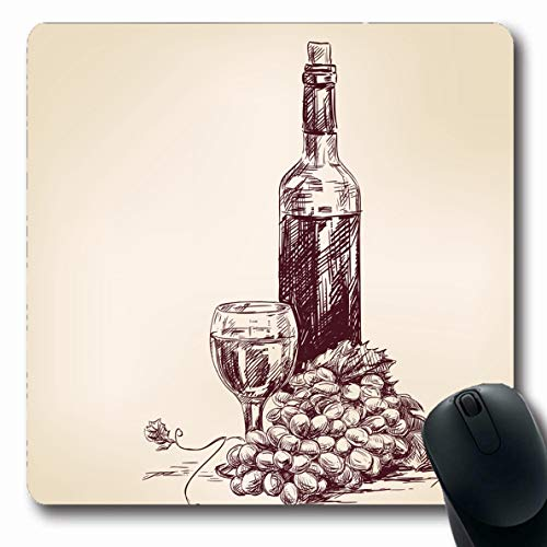 Ahawoso Mousepad Oblong 7.9x9.8 Inches Fruit Sketch Grapes Bottle Wine Glass Food Drink Vintage Old Alcohol Juice Plant Design Office Computer Laptop Notebook Mouse Pad,Non-Slip Rubber
