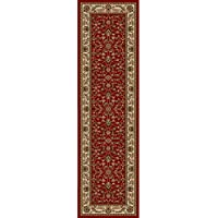 1 Piece 22 x 77ft Ivory Deep Red Orietnal Hallway Rug, Long Floral Carpet Entranceway French Country Classic Pattern Bordered Narrow Flooring Runner Style, Victorian Themed Royal Vintage, Olefin