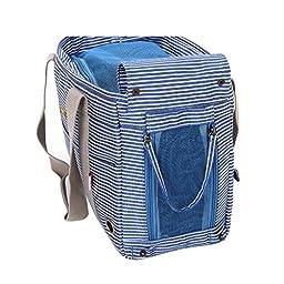 Juway Pets Outdoor Folding Stripe Fashion Bag For Small Pets(Blue,Onesize)