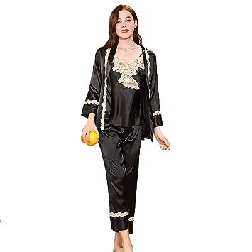 Pijamas Negligee De Satén De Las Mujeres Vestido De Noche Camisón Batas De Seda De Satén