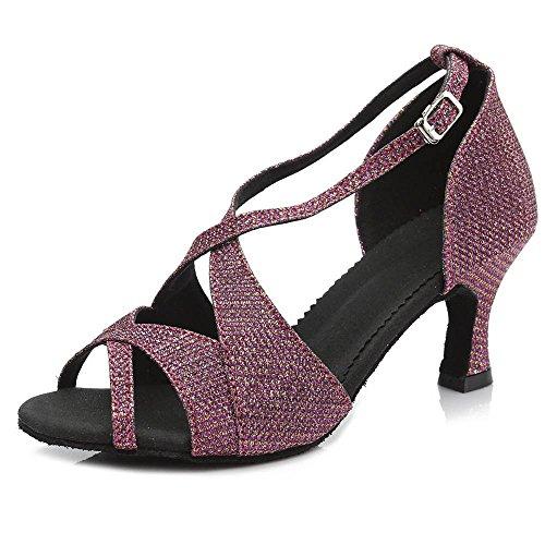 Yff Bal Tango Chaussures De Danse Latine Salsa Pour 50mm Et 65mm Talon Purple