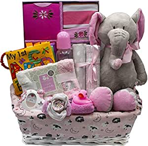 Bundle of Joy Deluxe Baby Girl or Boy Gift Basket (Medium) | 21 Piece New Baby Gift Set (Pink)