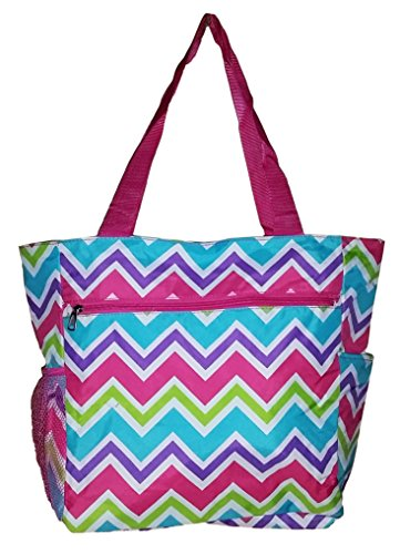 "Large Multi - Pocket Fashion Zipper Top Organizing Beach Bag Tote -13""x13""x6.5"""