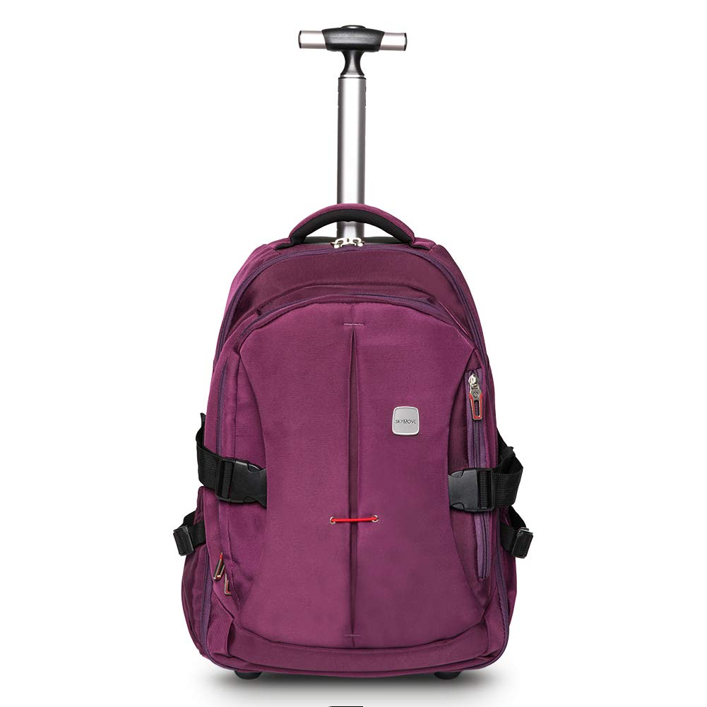SKYMOVE 19 inches Waterproof Wheeled Rolling Backpack for Adults and School Students Laptop Books Travel Backpack Bag, Purple