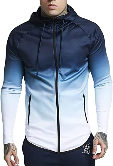 Mens Hoodies Zip Up Lightweight Casual Long Sleeve Solid Color Warm Sports Outwear Hooded Sweatshirts Coat