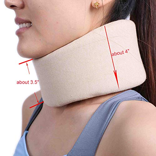 Universal Cervical Collar - Adjustable Soft Support Collar Can Be Used During Sleep - Wraps Aligns & Stabilizes Vertebrae - Relieves Pain & Pressure,Light-L (Width 3.5