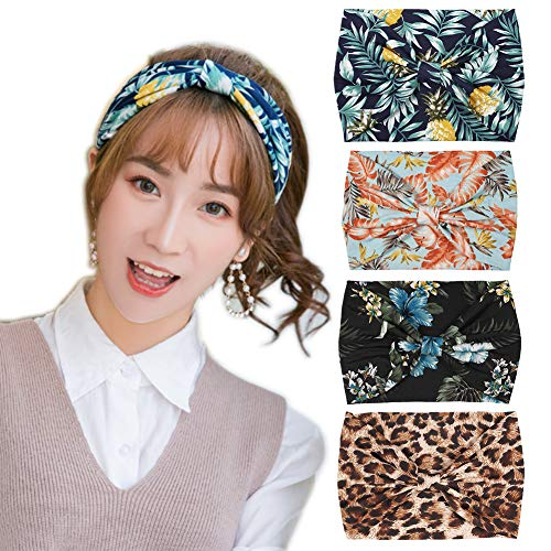 YSJOY 4 Pack Women Girls Hawaii Style Print Headbands Non Slip Off Elastic Hairband Twisted Turban for Sports or Makeup