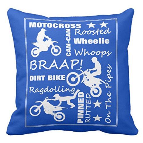 Emvency Throw Pillow Cover Flissitations Motocross Dirt Bike Sports Terminology Braap Decorative Pillow Case Home Decor Square 16 x 16 Inch Pillowcase ()