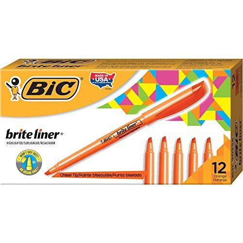 BIC Brite Liner Highlighter, Chisel Tip, Orange, 12-Count