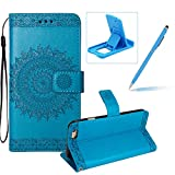 Strap Leather Case for iPhone 6S Plus,Flip Wallet Cover for iPhone 6 Plus,Herzzer Elegant Classic Solid Color Mandala Flower Printed Magnetic Purse Folio Smart Stand Cover with Card Cash Slot Soft TPU Inner Case