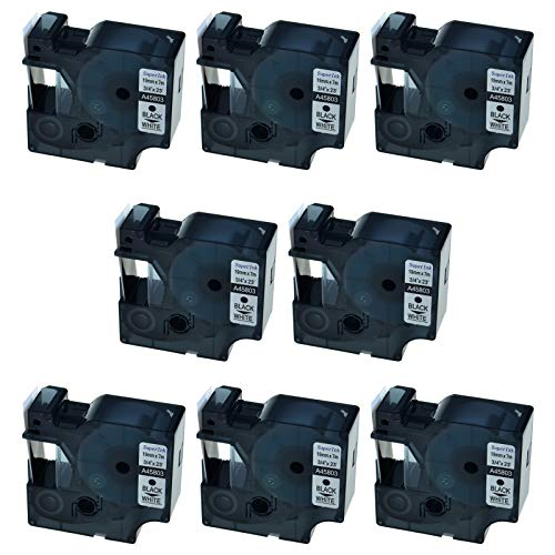 - SuperInk 8 Pack Compatible for DYMO D1 45803 Black on White Label Tape LabelManager 300 350 350D 360D 400 420P 450 450D 500TS LabelPoint 300 350 Printer (19mm 7m)