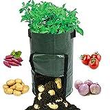 Potato Grow Bags 10 Gallon with Flap Indoor Outdoor Soil Plant Grow Bags Fabric Portable Durable Home Farm Planter PE Planting Big Bag Vegetable Carrot Onion Tomato Garden Growing Bags