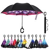 Amagoing Car Inverted Umbrella Double Layer Windproof Reverse Umbrella for Rain Sun (Fireworks)
