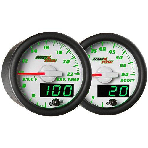 (GlowShift White & Green MaxTow Gauges Kit 60 PSI Boost & 2200° F EGT Pyrometer)