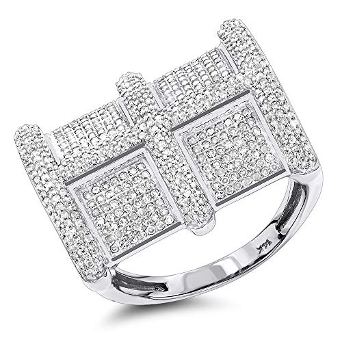 1.20 ct Cubic Zirconia Rounds Micro Pave Set Mens Ring in 14k White Gold Finish Over Silver
