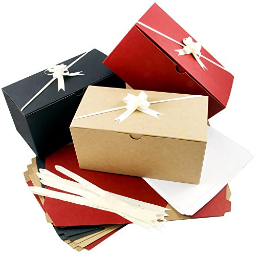 Colored Gift Boxes 9 x 4.5 x 4.5 inch Set of 10 including Pull Bows and Tissue Paper. Perfect to Wrap Presents. Ideal for Christmas, Baby Clothes, Bathing Products, Cupcakes, -