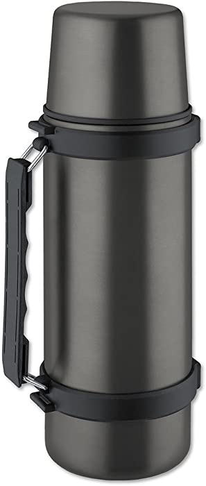 Isosteel VA-9553QAT 34 fl. oz. Double Walled Vacuum Flask with Isulating Plastic Drinking Mug and Quickstop System - Single Hand Pouring, Titanium Gray - BPA free