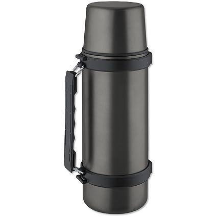 Isosteel VA-9553QAT - Termo, 1,0 L, Acero Inoxidable 18/8, Sistema de vertido con una Mano, Vaso y asa, Color Gris Titanio
