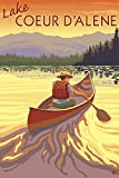 Coeur D'Alene, Idaho - Canoe Scene (9x12 Collectible Art Print, Wall Decor Travel Poster)