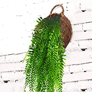 Artificial Hanging Vines Plants Fake Ivy Outdoor Plant Vine Faux Plastic Plant Wall Hangs Flowers Vines Greenery Plant for Lndoor Outside Wedding Home Garden Hanging Basket Decor - 2pcs 2